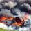 Taxibusje brandt uit in parkeergarage Assen